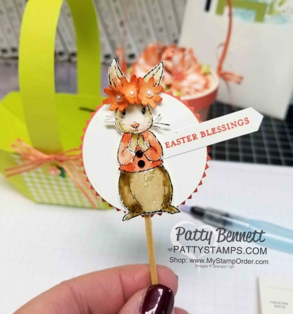 Easter Basket idea featuring stamped and watercolored bunny from Fable Friends. Create basket with the Envelope Punch Board from Stampin' Up! www.PattySTamps.com