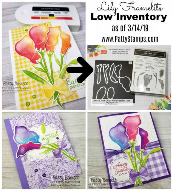 Lasting Lily stamp set available as a 2019 Stampin' Up! Sale-a-Bration item with your $100 order!!  Lily framelits available for purchase while supplies last. www.PattyStamps.com