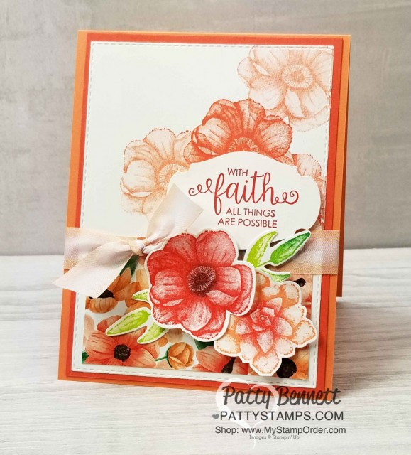 Stampin' UP! Painted Seasons Bundle - Limited Time Offer March 2019. Ribbon of Courage Faith Card idea by Patty Bennett with Story Label Punch. www.PattyStamps.com