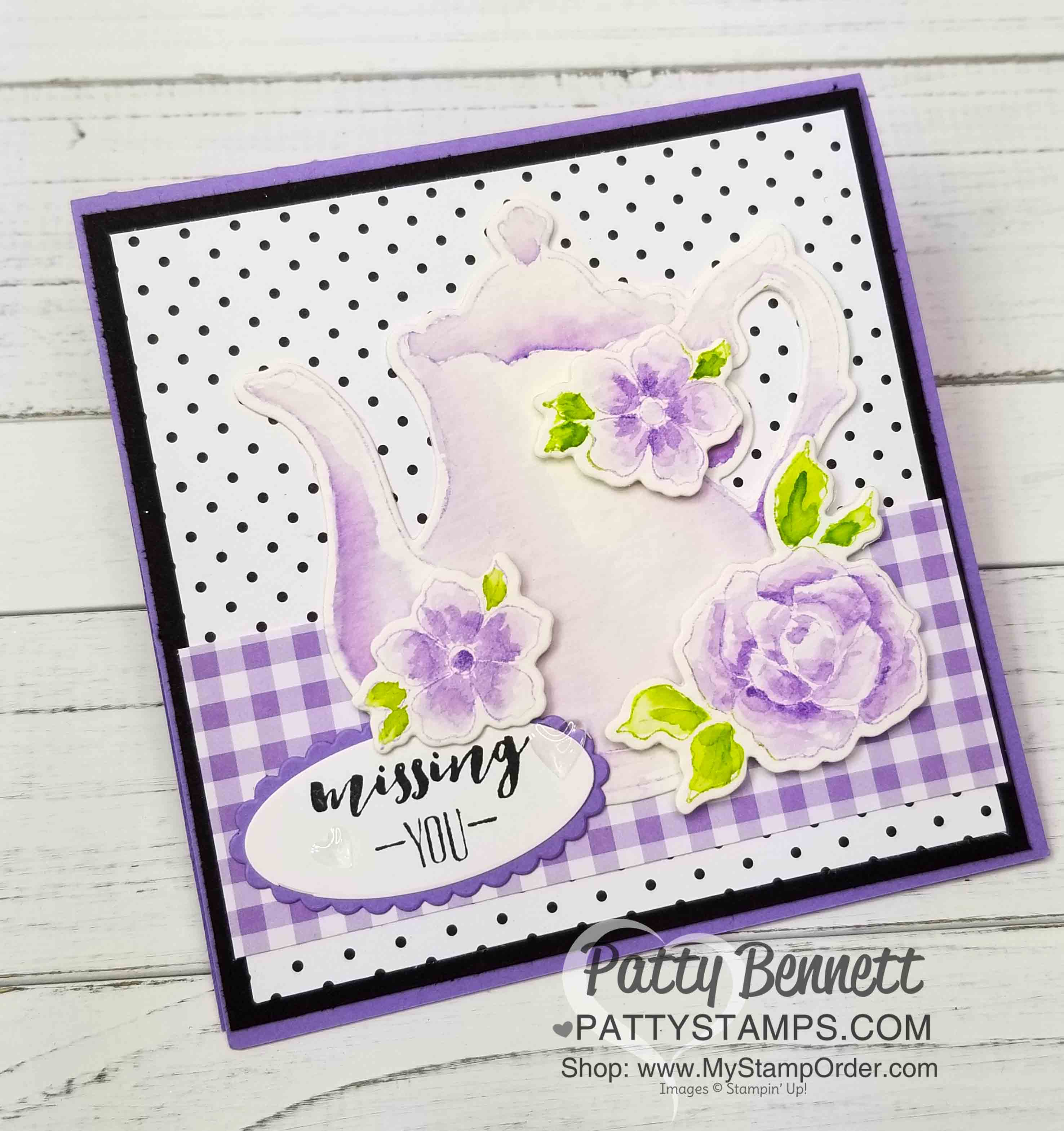 No Line Watercoloring Teapot Card