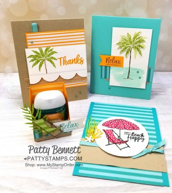 Beach Happy Stampin' UP! project ensemble featuring cards and hand sanitizer treat. www.PattyStamps.com
