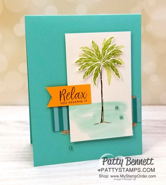 """Beach Happy Stampin' UP! """"relax"""" palm tree card. www.PattyStamps.com"""