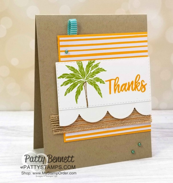 Beach Happy Stampin' UP! Thank You palm tree card. www.PattyStamps.com