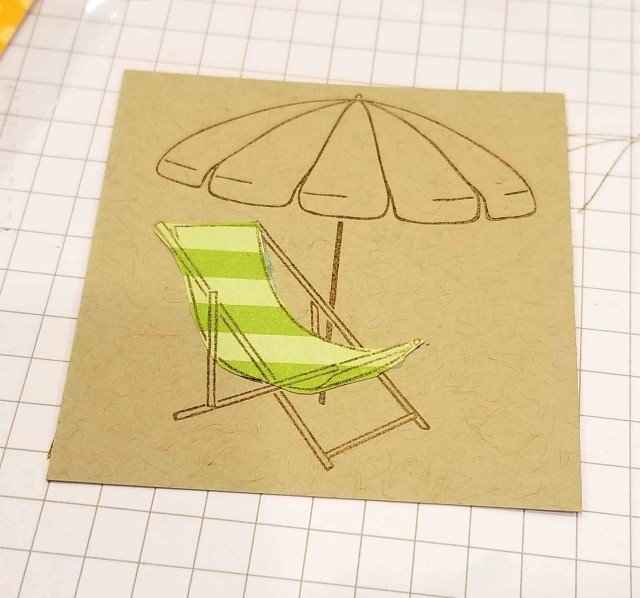 Paper Piecing with Brights designer paper and the Beach Happy Stampin' UP! set beach chair. www.PattyStamps.com
