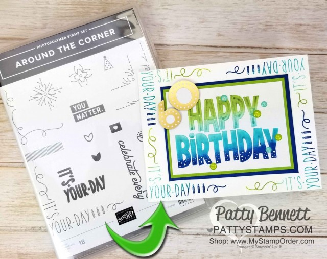 One for All stamp set birthday card idea featuring Spectrum rainbow pad. www.PattyStamps.com