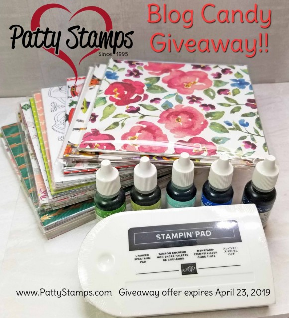 PattyStamps Blog Candy Giveaway - spectrum rainbow pad, 5 reinkers and a stack of 6x6 designer paper from Stampin' Up! www.PattyStamps.com