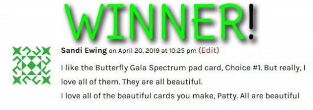PattyStamps Blog Candy Giveaway Winner! Designer paper stacks, Spectrum rainbow pad and 5 Stampin' Up! reinkers! April 2019