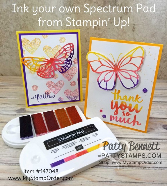 Spectrum pad butterfly cards with Ribbon of Courage hearts and greeting. www.PattyStamps.com