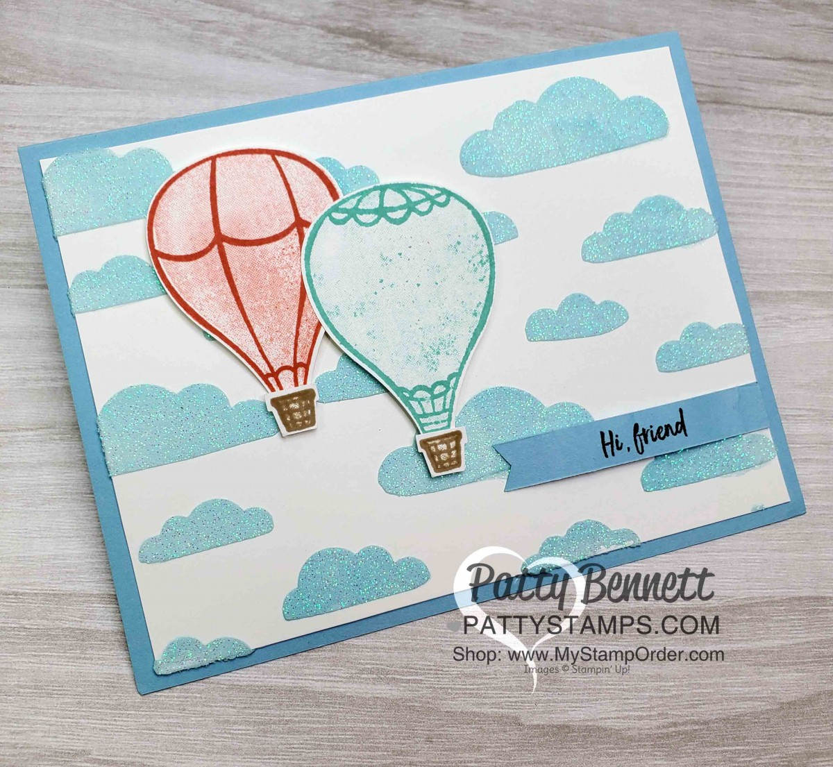 Above the Clouds hot air balloon with Embossing Paste clouds