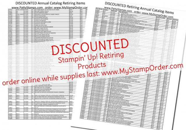 Annual Catalog 2018 2019 Stampin' Up! retiring list with DISCOUNTS on papercrafting products. www.PattyStamps.com