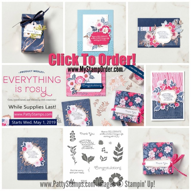 Everything is Rosy Medley bundle of paper crafting and card making products available now while supplies last!  www.PattyStamps.com