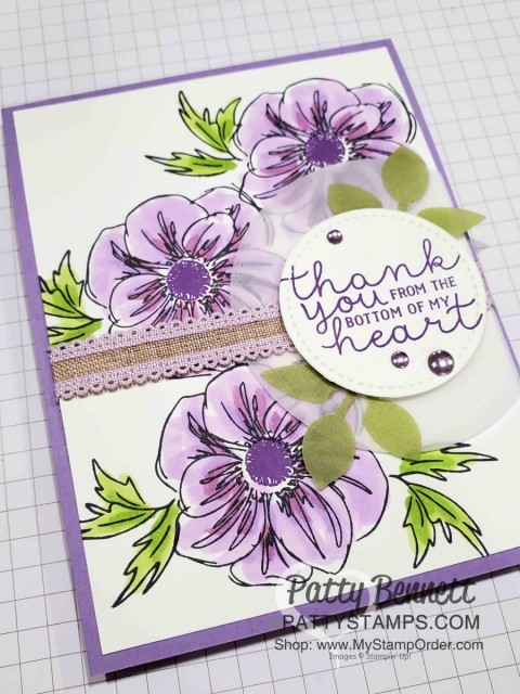 Floral Essence stamp set and flower punch bundle from Stampin' UP! Card idea featuring Highland Heather Stampin' Blends markers by Patty Bennett, www.PattyStamps.com