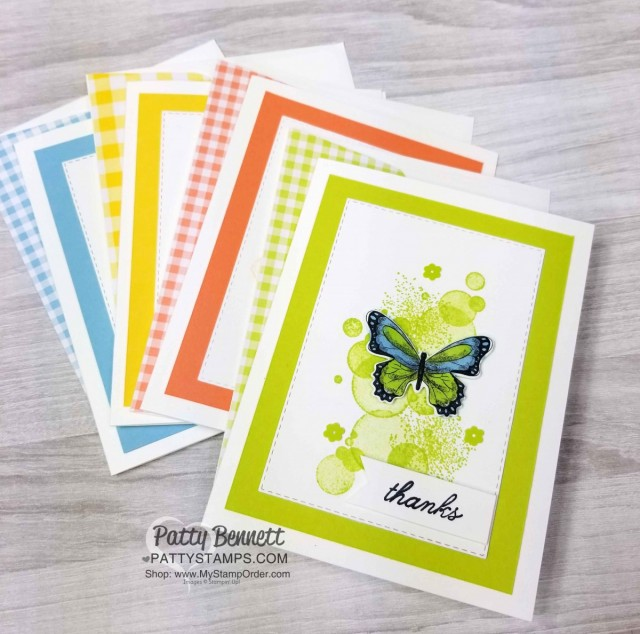 Stampin' UP! Gingham Gala designer paper stack with Beauty Abounds and Butterfly Gala stamp sets. Butterflies colored with Stampin' Blends markers. Thank You note card Idea. www.PattyStamps.com