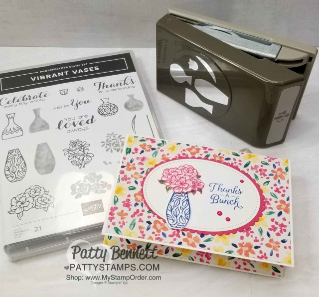 Stampin' UP! Vibrant Vases stamp set and coordinating Vases Builder punch note card idea featuring Garden Impressions designer series paper stack, by Patty Bennett www.PattyStamps.com