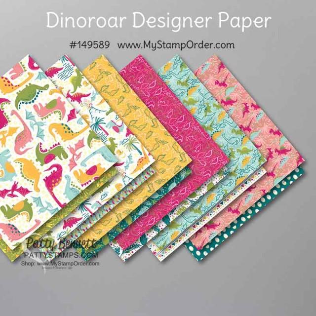 Stampin' Up! Dinoroar Designer Paper #149589 www.PattyStamps.com