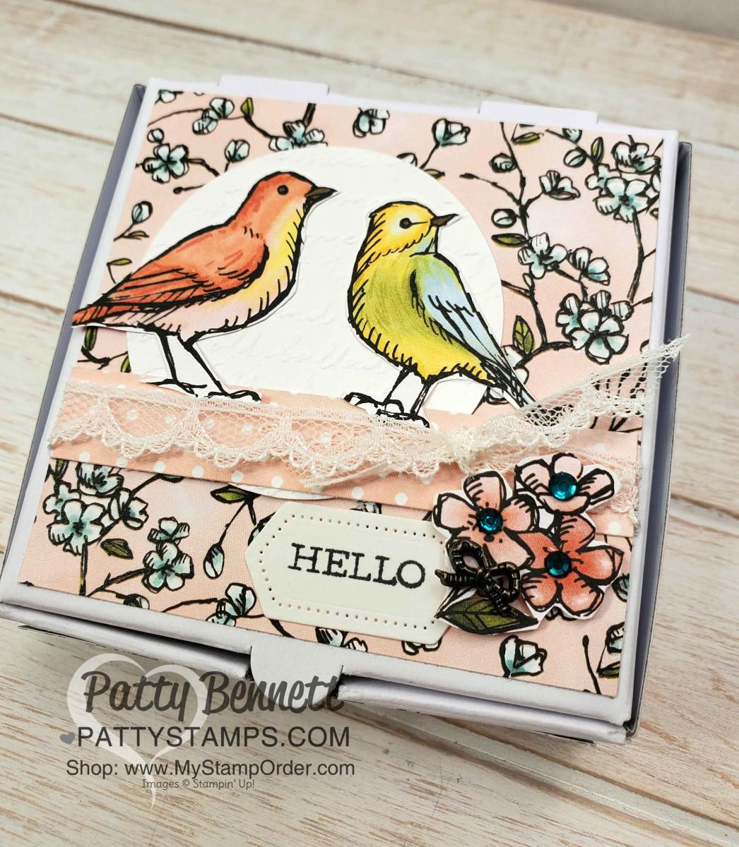 Mini Pizza Box with Bird Ballad Designer Paper