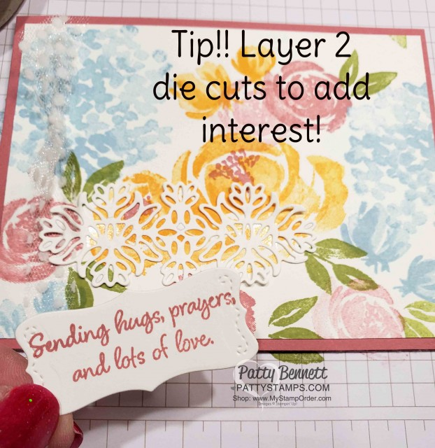 Beautiful Friendship floral stamp set from Stampin' UP! - Note Card Ideas by Patty Bennett featuring In Colors. www.PattyStamps.com
