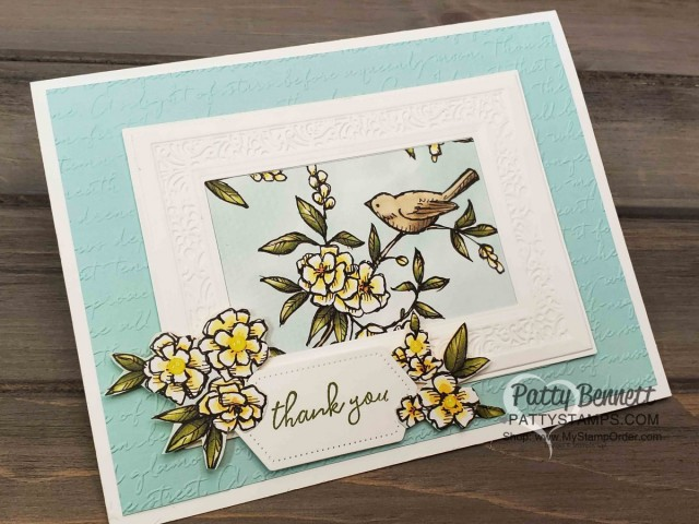 Bird Ballad designer paper from Stampin' Up! with Heirloom frames dies and 3D embossing folder frame, and Scripty embossing folder background. Handmade card by Patty Bennett, www.PattyStamps.com