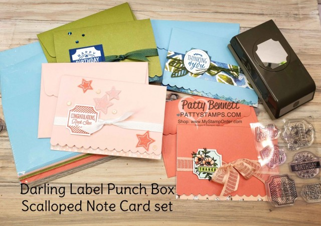 Stampin' UP! Darling Label Punch Box Scalloped Note Card idea by Patty Bennett www.PattyStamps.com