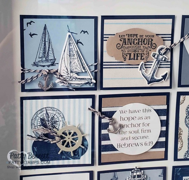 Hope as an Anchor sampler featuring Stampin' UP! Sailing Home stamp set and Sail Away designer paper. by Patty Bennett www.PattyStamps.com Designed by Creating for Christ with Ronda and Julie