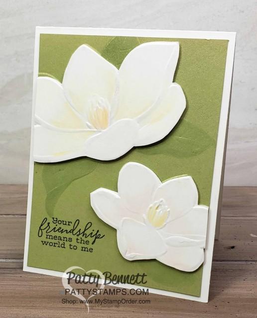Stampin' UP! Magnolia 3D Embossing Folder card idea by Patty Bennett. #149579 www.MyStampOrder.com