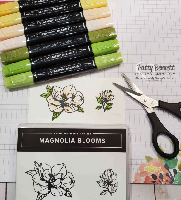 Coloring Magnolia Blooms stamp set with Stampin' Blends markers by Patty Bennett www.PattyStamps.com