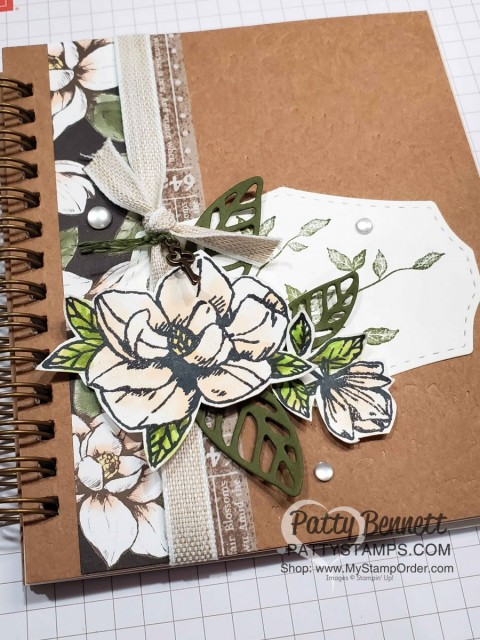 Stampin' UP! Pressed Petals Gratitude Journal cover idea - Luv 2 Stamp Group event June 2019 by Patty Bennett. Magnolia Lane Suite accessories. www.PattyStamps.com