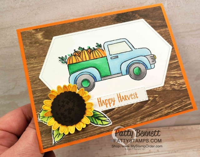 Stampin' Up! Ride with Me Fall truck card featuring pumkins colored with Stampin' Blends and a Sunflower created with the Medium Daisy Punch, by Patty Bennett, www.PattyStamps.com