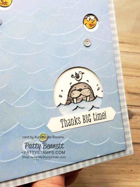 Stampin' UP! We';ll Walrus be Friends stamp set and High Seas embossing folder - swap card from Kurstan del Rosario colored with Stampin' Blends markers. www.PattyStamps.com