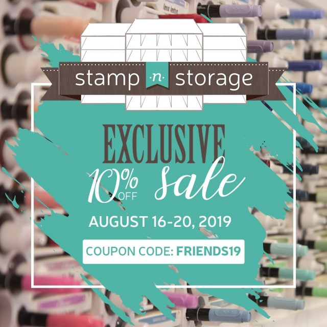 10% off Sale for Stamp-n-Storage organization products for your stamp and craft room! Starts Aug. 16, 2019 at 8am Central Time and ends 11:59pm Aug. 20, 2019 Central Time. Use Code FRIENDS19