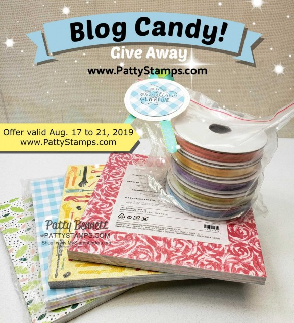 Stampin' Up! Blog Candy Give Away prize - 6x6 DSP stacks and Sale-a-Bration ribbon! www.PattyStamps.com Expires 8-21-19