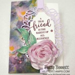 Perennial Essence designer paper note card featuring Detailed Bands die cuts, Stampin