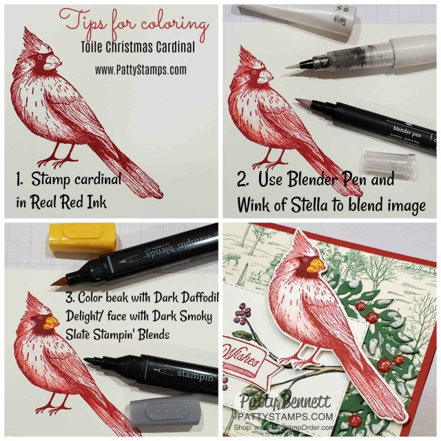 How to color the cardinal on the Toile Christmas Cardinal Card featuring the All-Around die cut wreath, by Patty Bennett, www.PattyStamps.com