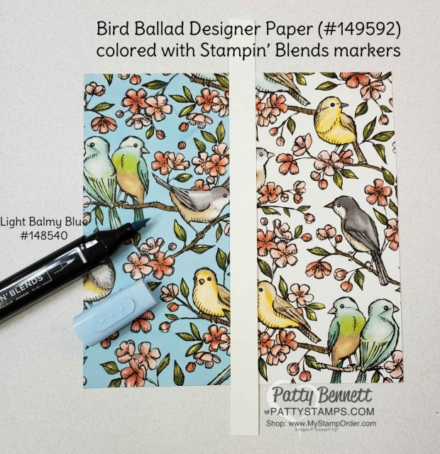 How to Alter Stampin' UP! Designer paper (DSP) with Stampin' Blends markers. Bird Ballad designer paper and Balmy Blue marker. Patty Bennett www.PattyStamps.com