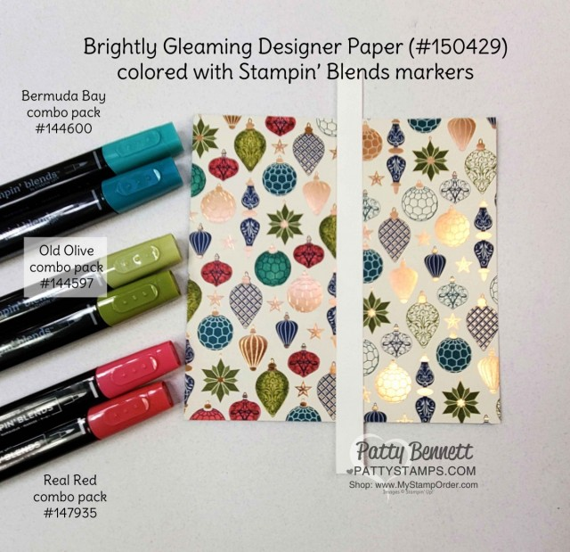 How to Alter Stampin' UP! Designer paper (DSP) with Stampin' Blends markers. Brightly Gleaming designer paper and Real Red, Old Olive and Bermuda Bay combo pack markers. Patty Bennett www.PattyStamps.com