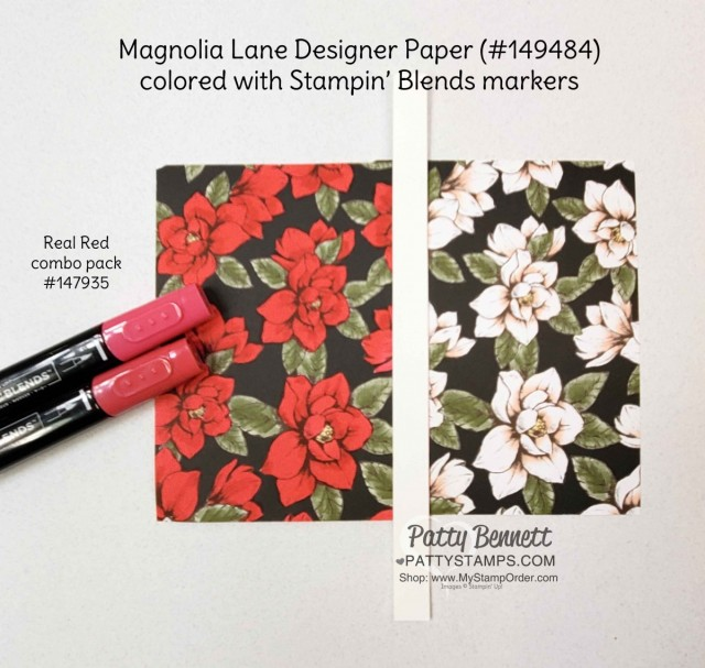 How to Alter Stampin' UP! Designer paper (DSP) with Stampin' Blends markers. Magnolia Lane designer paper and Real Red combo pack markers. Patty Bennett www.PattyStamps.com