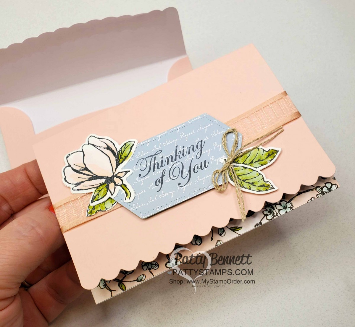 Pink Scalloped Note Card with Magnolia