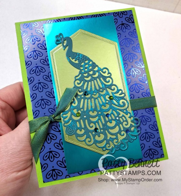 Stampin' Up! Noble Peacock Foil paper card idea featuring Detailed Peacock die and Noble Peacock Rhinestones by Patty Bennett www.PattyStamps.com