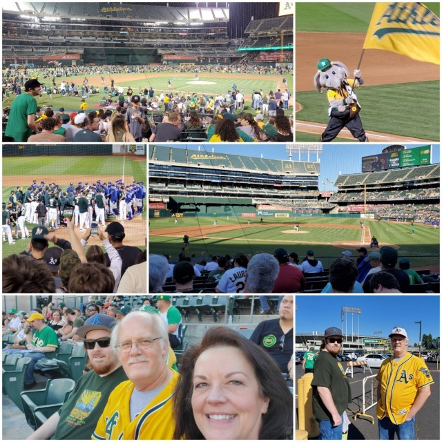 Oakland A's baseball game - fireworks night for Eric's birthday - July 2019