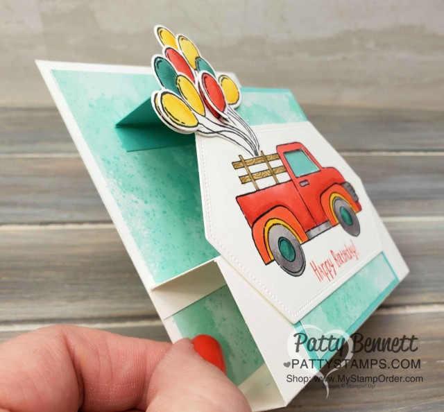 """Birthday """"Fun Fold"""" Card Idea featuring Stampin' Up! Ride with Me stamp set and Stampin' Blends markers by Patty Bennett. www.PattyStamps.com"""