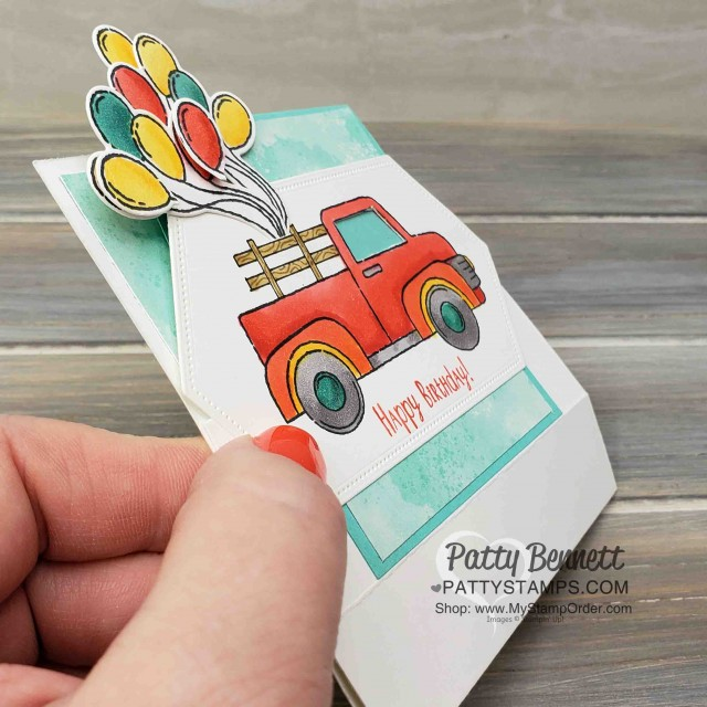 """Birthday """"Fun Fold"""" Card Idea Folds Flat!! Card idea featuring Stampin' Up! Ride with Me stamp set and Stampin' Blends markers by Patty Bennett. www.PattyStamps.com"""