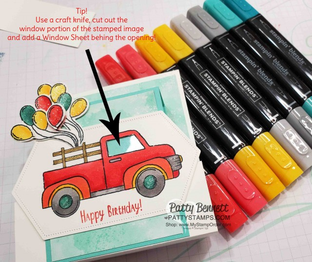 """Use a window sheet in the window of the truck! Birthday """"Fun Fold"""" Card Idea featuring Stampin' Up! Ride with Me stamp set and hand drawn wood rails in the truck bed! Wink of Stella and Stampin' Blends markers also used. by Patty Bennett. www.PattyStamps.com"""