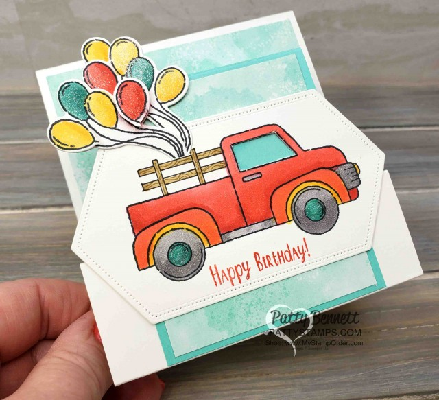 """Birthday """"Fun Fold"""" Card Idea featuring Stampin' Up! Ride with Me stamp set. Wink of Stella and Stampin' Blends markers by Patty Bennett. www.PattyStamps.com"""