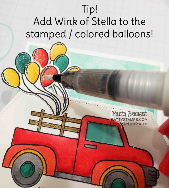 """Birthday """"Fun Fold"""" Card Idea featuring Stampin' Up! Ride with Me stamp set and hand drawn wood rails in the truck bed! Wink of Stella and Stampin' Blends markers also used. by Patty Bennett. www.PattyStamps.com"""