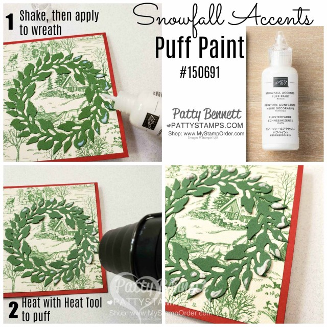 How to use Puff Paint on the Toile Christmas Cardinal Card featuring the All-Around die cut wreath, by Patty Bennett, www.PattyStamps.com