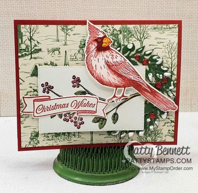 Toile Christmas Cardinal Card idea featuring Puff Paint on die cut wreath, by Patty Bennett, www.PattyStamps.com