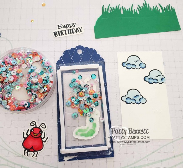 Adhesive Foam Strips and Iridescent sequins for the Wiggle Worm stamp set and Wiggly Bugs dies from Stampin' UP! - cute birthday gift bag tag / Shaker card idea. www.PattyStamps.com