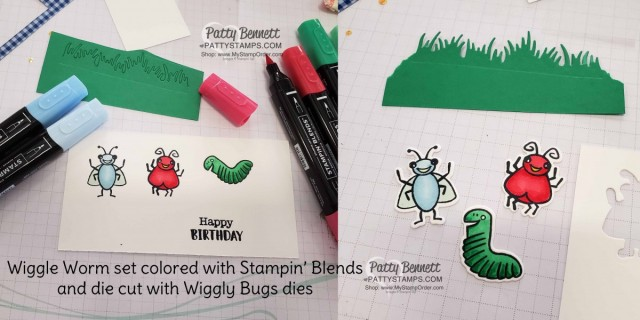 Use Stampin' Blends to color the Wiggle Worm stamp set and Wiggly Bugs dies from Stampin' UP! - cute birthday gift bag tag / Shaker card idea. www.PattyStamps.com
