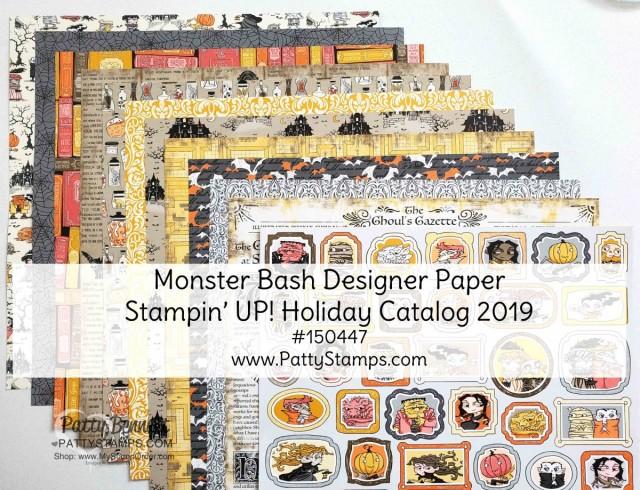 Stampin' UP! Halloween designer paper - Monster Bash #150447 www.PattyStamps.com