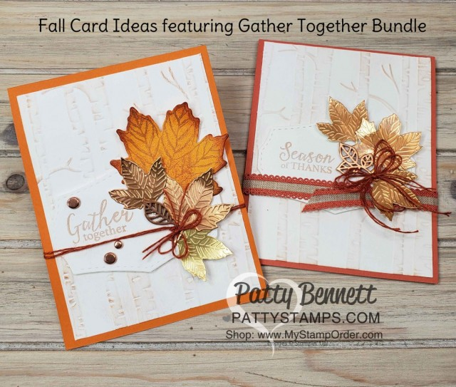 Stampin' Up! Gather Together bundle Fall Card idea featuring Woodland Embossing folder and Copper Delicata Metallic ink, by Patty Bennett www.PattyStamps.com